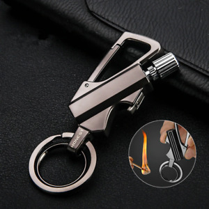 New Waterproof Permanent Match Lighter Carabiner Style Portable Bottle Opener