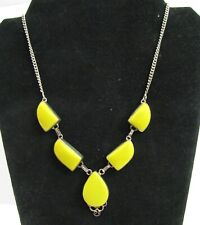 Vintage Yellow Cabochon Stone Silver Necklace Sterling 925 Mark 18 Inch Princess