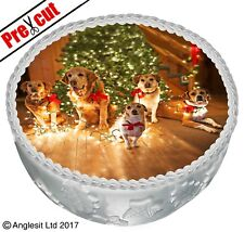 """PRE-CUT CHRISTMAS DOGS CAKE C IV. TOPPER 7"""" / 18CM EDIBLE WAFER PARTY DECORATION"""