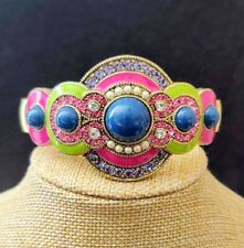 "Heidi Daus ""La Conquista Brilla"" Enamel Resin & Crystal Deco Cuff Bracelet  M/L"
