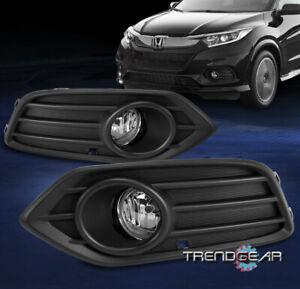 For 2019-2021 Honda HR-V HRV Bumper Fog Lights Lamp Chrome w/Bezel+Harness LH+RH