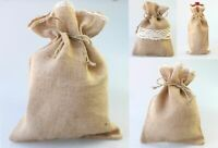 Hessian Gift Bags Pouch w Lace Wedding Party Favours Christmas S M L / Bottle