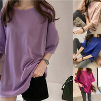 Women Summer Tunic Short Sleeve T Shirt Crew Neck Solid Loose Casual Tops Blouse