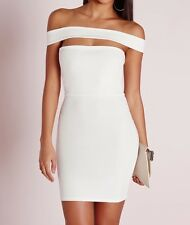 Ex Missguided cut out panel bardot bodycon dress white UK 4