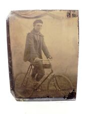 RARE EARLY PHOTOGRAPH OF A MAN ON HIS BICYCLE ~TINTYPE, DAGUERROTYPE, CDV~