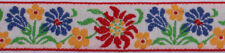 """1"""" Woven Ribbon Dutch Floral Colorful Flowers on White Trim by the Yard M402.10"""