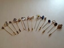 LOT OF 15 VINTAGE STICK PINS - LARGE VARIETY
