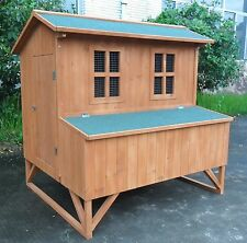 Large Wooden Chicken Coop Backyard Hen House 5-8 Chickens with 4 nesting box