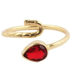 Pear Multi-Color Hydro Quartz Textured Design Yellow Gold Plated Adjustable Ring