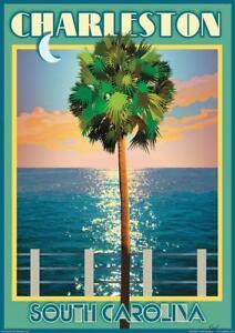 Charleston, SC- Vintage Art Deco Style Travel Poster-by Aurelio Grisanty