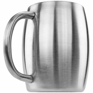 Stainless Double Wall Steel Beer Coffee Desk Beverage  Mug, Smooth 14 oz New
