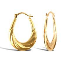 Diamond Cut Oval Shape Creole Earring 9k Yellow Gold
