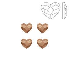 Swarovski Crystal Hotfix 2808 Heart Flatbacks Rose Gold 6mm Pack of 4 (K72/5)