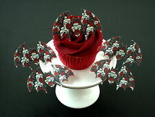 15 PRE-CUT BATS SKULL ROSES GOTHIC HALLOWEEN CAKE EDIBLE RICE WAFER PAPER TOPPER