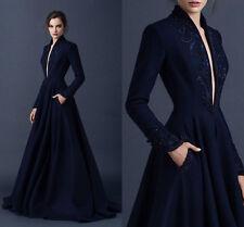 Navy Blue Satin Evening Dresses Long Sleeve V-Neck Formal Party Gowns Custom