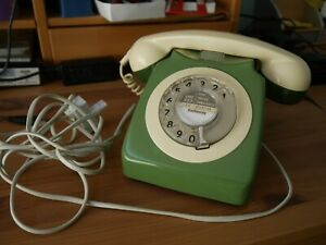 vintage dial phone green two-tone fully working