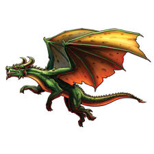 """""""Dragon"""" Temporary Tattoo, Flying Green Winged Dragon w/ Horns, USA Made"""