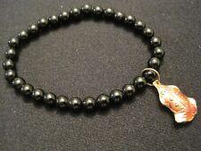 Black Beaded Stretch Bracelet with Cloisonne Frog Charm Euc