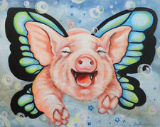 """signed giclee print /""""When Pigs Fly/"""" Jamie Hayes NEW ORLEANS flying pigs"""