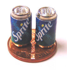 1:12 Scale 2 Empty Sprite Drink Cans Dolls House Miniature Pub Bar Accessory
