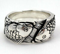 JAPANESE KOI FISH 925 STERLING SILVER RING NEW CARP WEDDING ENGAGEMENT BAND