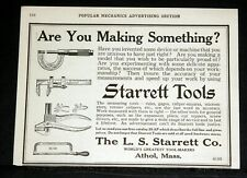 1915 OLD MAGAZINE PRINT AD, STARRETT TOOLS, ARE YOU MAKING SOMETHING? SPEED!