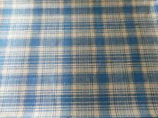 Vintage French Woven Homespun Check Plaid Blue Cotton Fabric ~