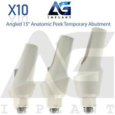 10 Angled 15° Anatomic Peek Temporary Abutment For Dental Implant Internal Hex