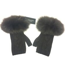 YVES SALOMON Womens Fox Fur Knit Cashmere Fingerless Gloves Brown (MSRP $330)