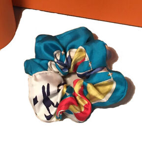 Hermes Handmade Vintage En Course Silk Scarf Scrunchie in Aqua and White