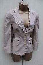 Exquisite Karen Millen Beige Pinstripe Cotton Casual Classic Blazer Jacket 14 UK