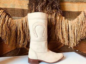 vintage Moreno Romero Mor Rom Horseshoe Cream Leather Western Boots Women's 7
