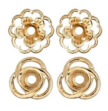 Earring Jackets Set of 2 Pair Flower and Loops Gold over Silver Jacket