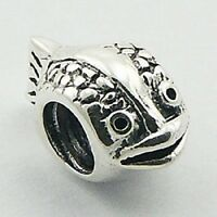 Silver bead Oval Fish 12mm height 925 sterling silver for charm bracelet trend