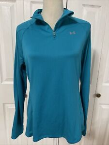 Under Armour Woman's Long Sleeve 1/2 Zip Semi-Fitted Top Shirt Teal Sz Large
