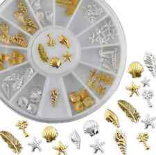 Gold Silver DIY Ocean Life 3D Shell Conch Feather Starfish Nail Art Decoration H