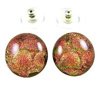 """Dichroic Earrings Glass Copper Orange Round Bubbles Dots POST Studs 1/2"""" 12mm"""