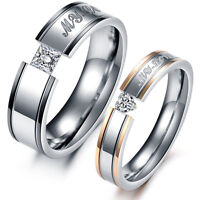 Couples Princess Cut Heart Cut CZ Stainless Steel Ring Size 5 6 7 8 9 10 11 Gift