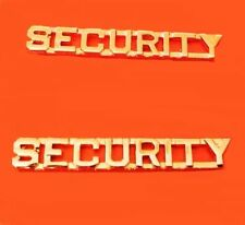 "Security Officer Collar Pin Set Insignia Cut Out Letter 2200 1/4"" SO Gold Plated"