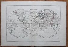 Bonne: Colored Map of the World Hemispheres - 1780