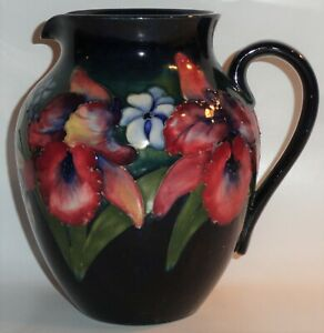 """Antique c 1935–1949 William Walter Moorcroft Pottery Orchid Pattern Pitcher ~ 8"""""""