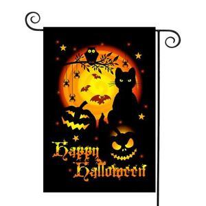 Happy Halloween Black Cat Moon Spider Ghost Garden Flag Outdoor Yard Décor #08