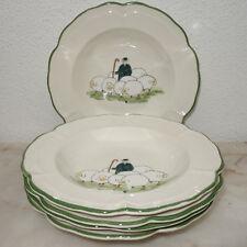 Zeller Keramik Schäfchen handbemalt  Fünf 5 Suppenteller / soup dishes  Ø 22,5