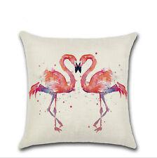 """Retro Flamingo Cotton Linen Throw Sofa Pillow Case Cushion Cover Home Decor 18"""""""