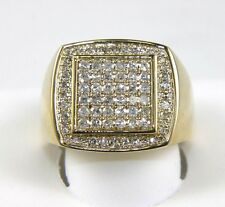 Fine Round Cut Diamond Square Cluster Men's Ring 14k Yellow Gold 1.12Ct