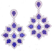 NATURAL GEMSTONES BLUE SAPPHIRE  STAR SHAPE EARRINGS PAIR WITH 92.5 SILVER