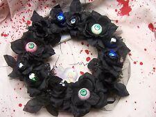 """16"""" Halloween Wreath Door Lighted Eyeballs Black Roses Flashing Eyes Eyeball"""