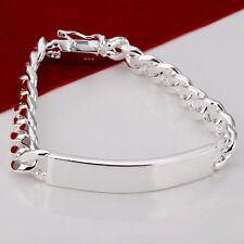 """Cool 925Sterling Silver Jewelry 10MM Oxhide Men Lady Chain Bracelet 8"""" ZH181"""