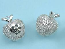 CZ Crystal Micro Pave Platinum Plated Apple Charm Pendant Necklace or Bracelet