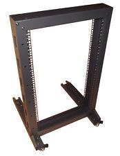 """18u 19"""" Rackmount Frame - Mobile Floor Standing 2 Post Open Rack With Castors"""